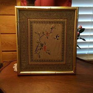 Custom framed Oriental art work